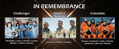 GODSPEED THE CREWS OF APOLLO 1, COLUMBIA AND CHALLENGER